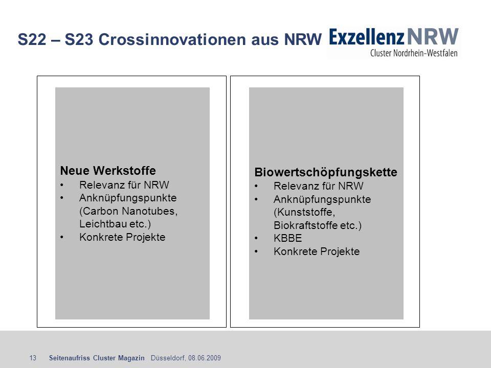 Seitenaufriss Cluster Magazin Düsseldorf, 08.06.200913 S22 – S23 Crossinnovationen aus NRW Biowertschöpfungskette Relevanz für NRW Anknüpfungspunkte (