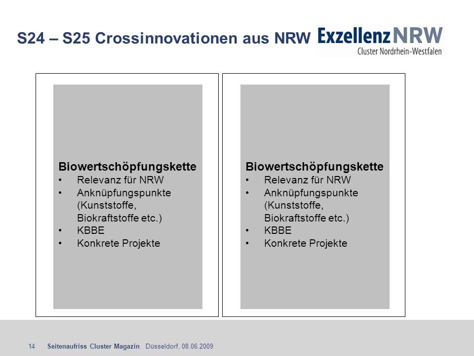 Seitenaufriss Cluster Magazin Düsseldorf, 08.06.200914 S24 – S25 Crossinnovationen aus NRW Biowertschöpfungskette Relevanz für NRW Anknüpfungspunkte (