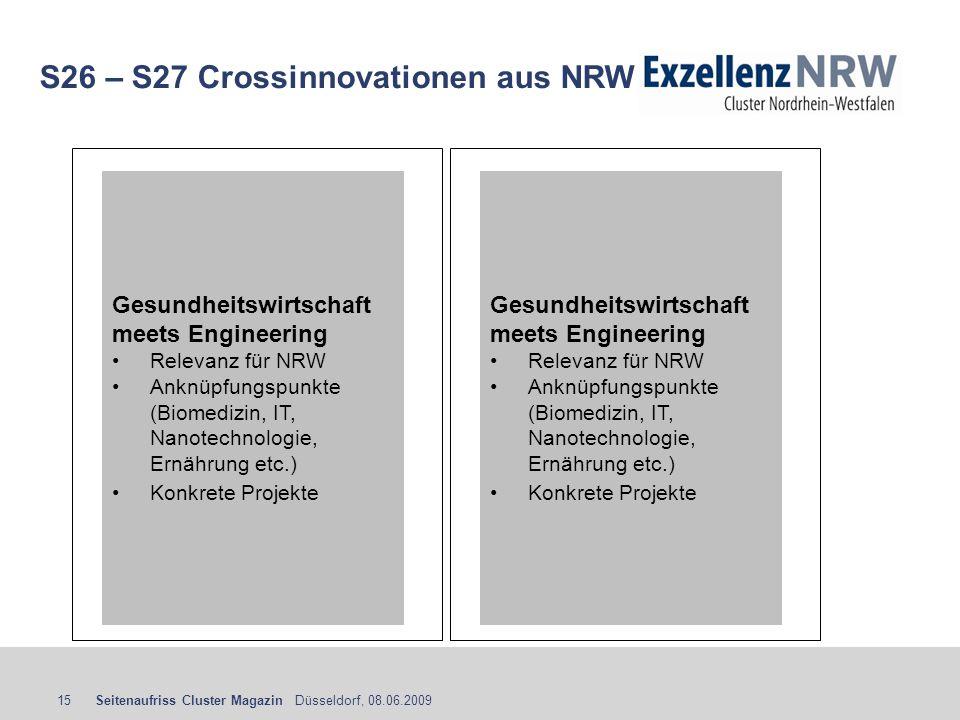 Seitenaufriss Cluster Magazin Düsseldorf, 08.06.200915 S26 – S27 Crossinnovationen aus NRW Gesundheitswirtschaft meets Engineering Relevanz für NRW An