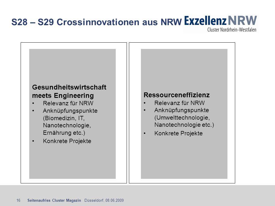 Seitenaufriss Cluster Magazin Düsseldorf, 08.06.200916 S28 – S29 Crossinnovationen aus NRW Ressourceneffizienz Relevanz für NRW Anknüpfungspunkte (Umw