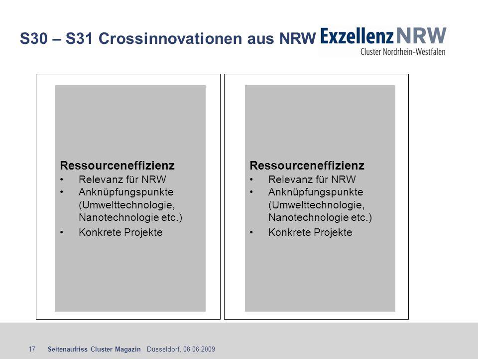 Seitenaufriss Cluster Magazin Düsseldorf, 08.06.200917 S30 – S31 Crossinnovationen aus NRW Ressourceneffizienz Relevanz für NRW Anknüpfungspunkte (Umw
