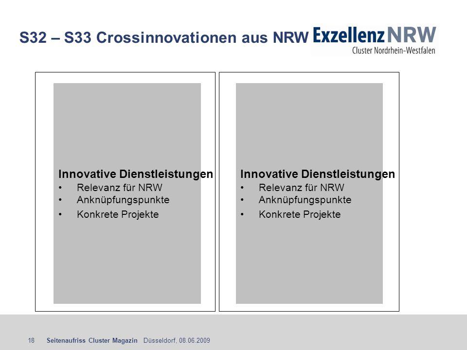 Seitenaufriss Cluster Magazin Düsseldorf, 08.06.200918 S32 – S33 Crossinnovationen aus NRW Innovative Dienstleistungen Relevanz für NRW Anknüpfungspun