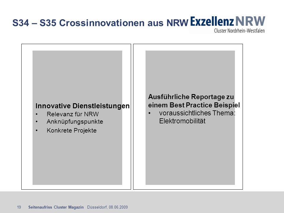 Seitenaufriss Cluster Magazin Düsseldorf, 08.06.200919 S34 – S35 Crossinnovationen aus NRW Innovative Dienstleistungen Relevanz für NRW Anknüpfungspun