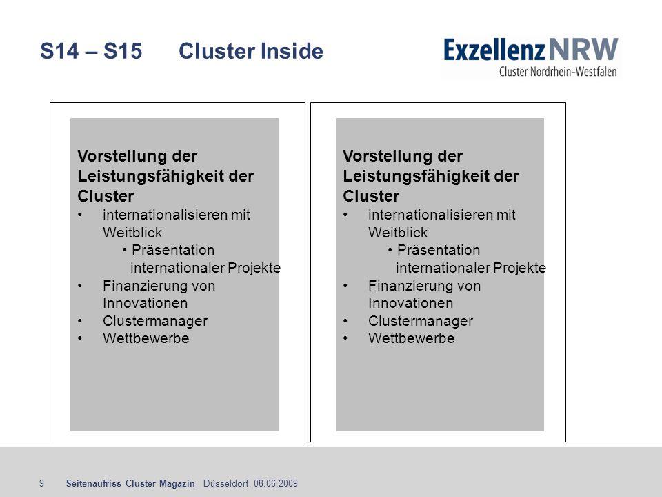 Seitenaufriss Cluster Magazin Düsseldorf, 08.06.20099 S14 – S15 Cluster Inside Vorstellung der Leistungsfähigkeit der Cluster internationalisieren mit