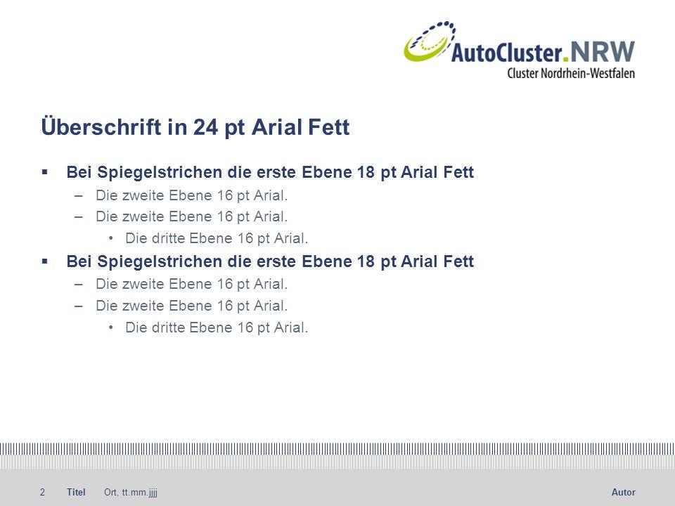 Titel Ort, tt.mm.jjjj3Autor Die Head ist in 24 pt Arial Fett Der Fließtext in 16 pt Arial, ohne Einschub beim Umbruch.