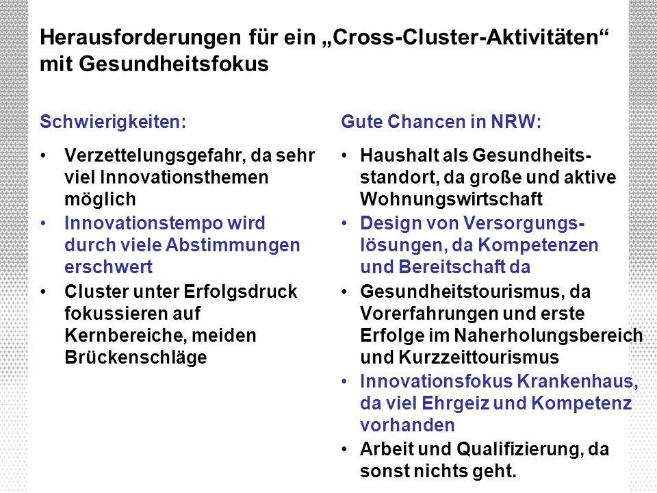 Herausforderungen für ein Cross-Cluster-Aktivitäten mit Gesundheitsfokus Schwierigkeiten: Verzettelungsgefahr, da sehr viel Innovationsthemen möglich