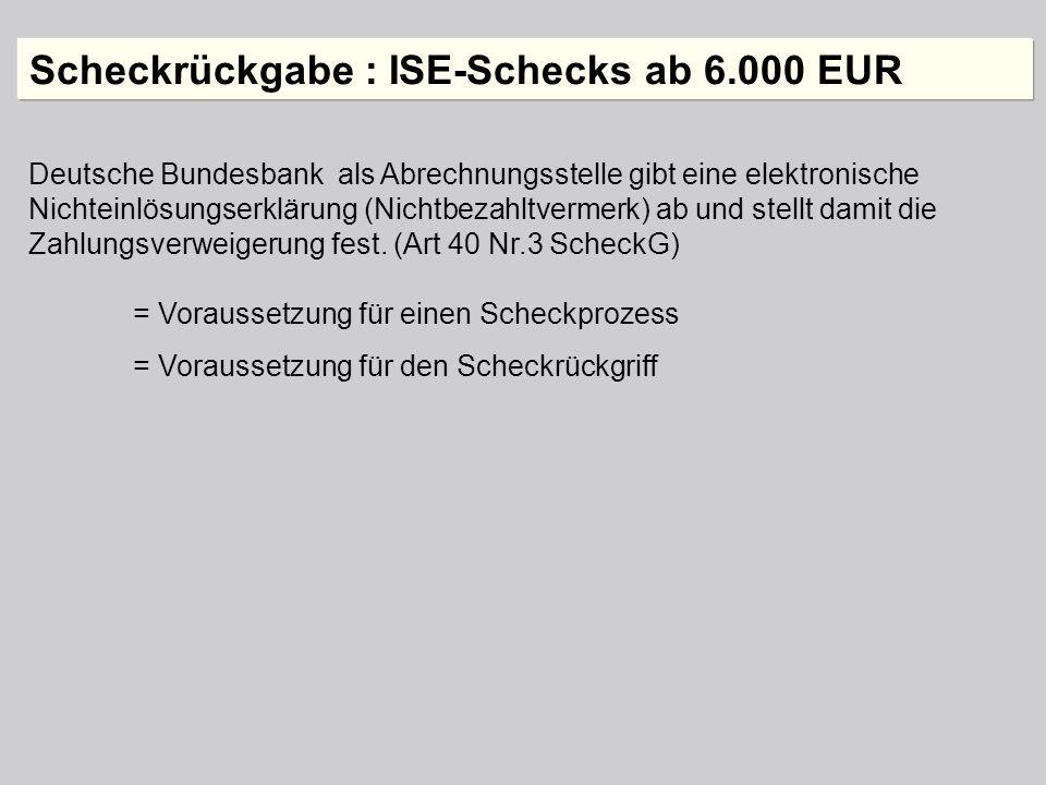 Deutsche Bundesbank als Abrechnungsstelle gibt eine elektronische Nichteinlösungserklärung (Nichtbezahltvermerk) ab und stellt damit die Zahlungsverwe