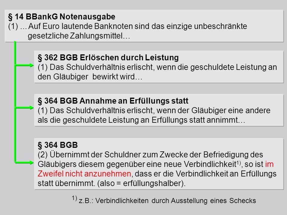 § 14 BBankG Notenausgabe (1)... Auf Euro lautende Banknoten sind das einzige unbeschränkte gesetzliche Zahlungsmittel… § 362 BGB Erlöschen durch Leist