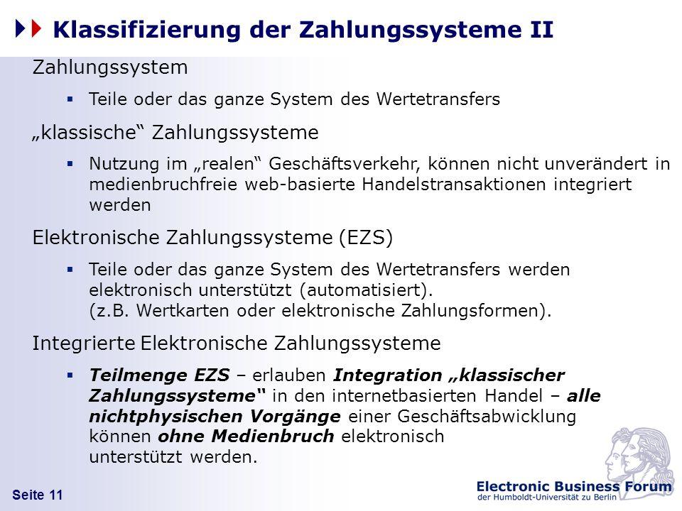 Seite 11 Klassifizierung der Zahlungssysteme II Zahlungssystem Teile oder das ganze System des Wertetransfers klassische Zahlungssysteme Nutzung im re