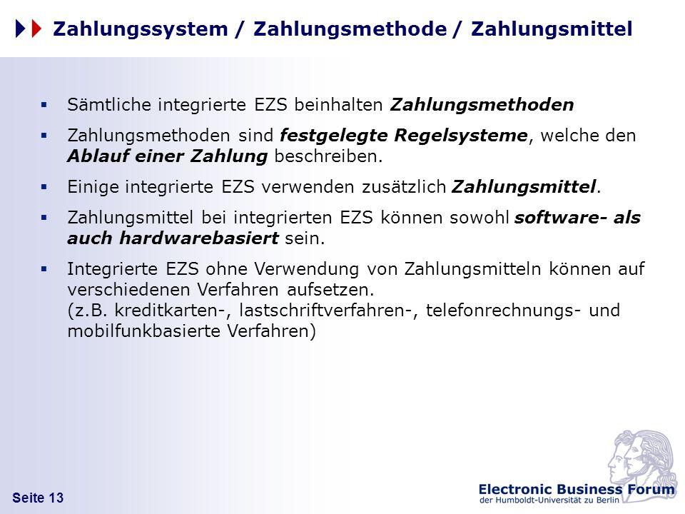 Seite 13 Zahlungssystem / Zahlungsmethode / Zahlungsmittel Sämtliche integrierte EZS beinhalten Zahlungsmethoden Zahlungsmethoden sind festgelegte Reg
