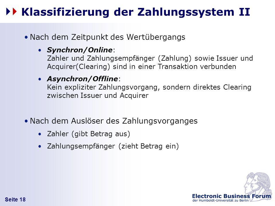 Seite 18 Nach dem Zeitpunkt des Wertübergangs Synchron/Online: Zahler und Zahlungsempfänger (Zahlung) sowie Issuer und Acquirer(Clearing) sind in eine