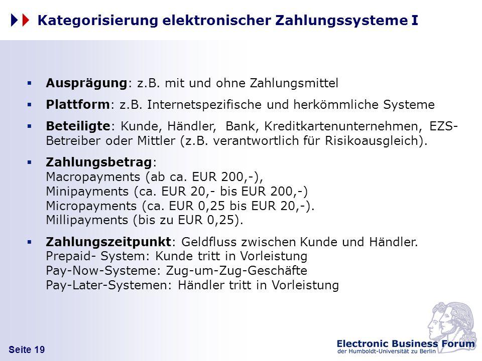 Seite 19 Kategorisierung elektronischer Zahlungssysteme I Ausprägung: z.B. mit und ohne Zahlungsmittel Plattform: z.B. Internetspezifische und herkömm