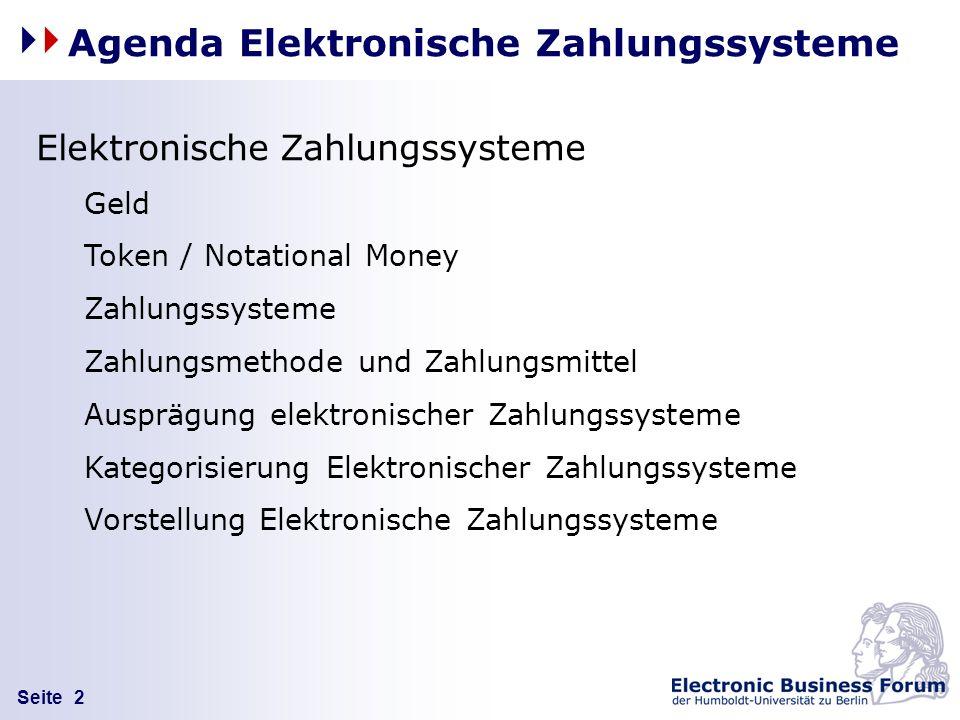 Seite 2 Elektronische Zahlungssysteme Geld Token / Notational Money Zahlungssysteme Zahlungsmethode und Zahlungsmittel Ausprägung elektronischer Zahlu