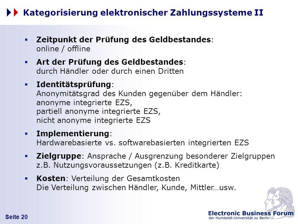 Seite 20 Kategorisierung elektronischer Zahlungssysteme II Zeitpunkt der Prüfung des Geldbestandes: online / offline Art der Prüfung des Geldbestandes