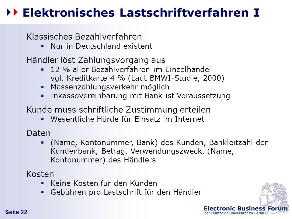 Seite 22 Elektronisches Lastschriftverfahren I Klassisches Bezahlverfahren Nur in Deutschland existent Händler löst Zahlungsvorgang aus 12 % aller Bez