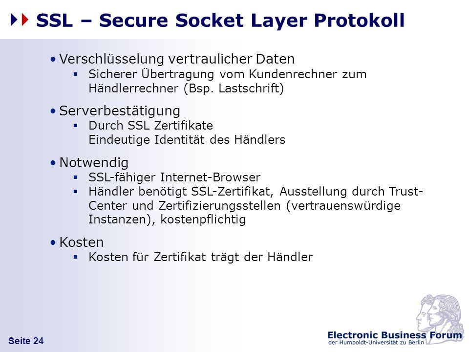 Seite 24 SSL – Secure Socket Layer Protokoll Verschlüsselung vertraulicher Daten Sicherer Übertragung vom Kundenrechner zum Händlerrechner (Bsp. Lasts