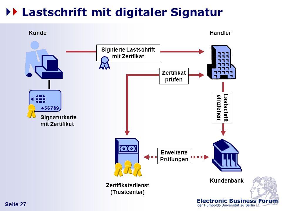 Seite 27 Lastschrift mit digitaler Signatur Kunde Kundenbank Händler Signierte Lastschrift mit Zertfikat Signaturkarte mit Zertifikat Zertifikatsdiens