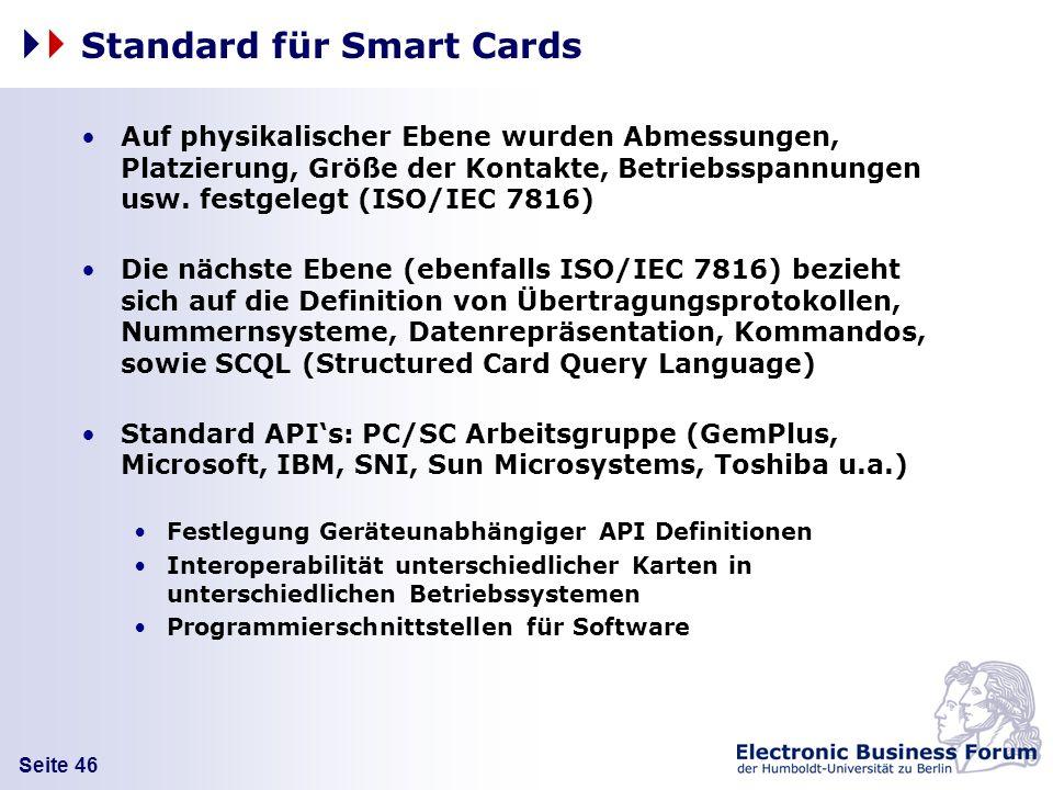 Seite 46 Standard für Smart Cards Auf physikalischer Ebene wurden Abmessungen, Platzierung, Größe der Kontakte, Betriebsspannungen usw. festgelegt (IS