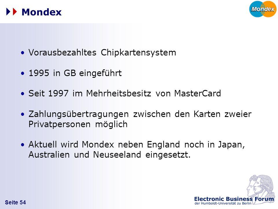 Seite 54 Vorausbezahltes Chipkartensystem 1995 in GB eingeführt Seit 1997 im Mehrheitsbesitz von MasterCard Zahlungsübertragungen zwischen den Karten