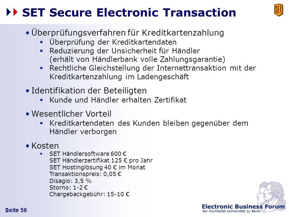 Seite 56 SET Secure Electronic Transaction Überprüfungsverfahren für Kreditkartenzahlung Überprüfung der Kreditkartendaten Reduzierung der Unsicherhei