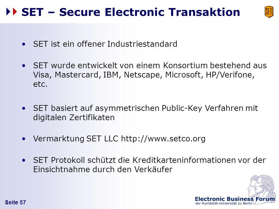 Seite 57 SET – Secure Electronic Transaktion SET ist ein offener Industriestandard SET wurde entwickelt von einem Konsortium bestehend aus Visa, Maste