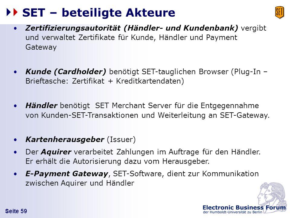 Seite 59 SET – beteiligte Akteure Zertifizierungsautorität (Händler- und Kundenbank) vergibt und verwaltet Zertifikate für Kunde, Händler und Payment