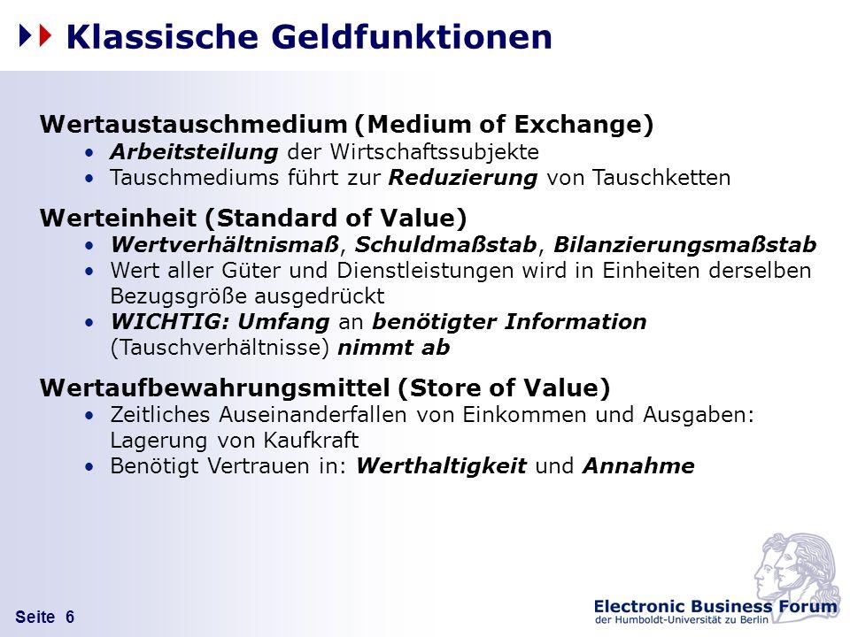 Seite 6 Klassische Geldfunktionen Wertaustauschmedium (Medium of Exchange) Arbeitsteilung der Wirtschaftssubjekte Tauschmediums führt zur Reduzierung