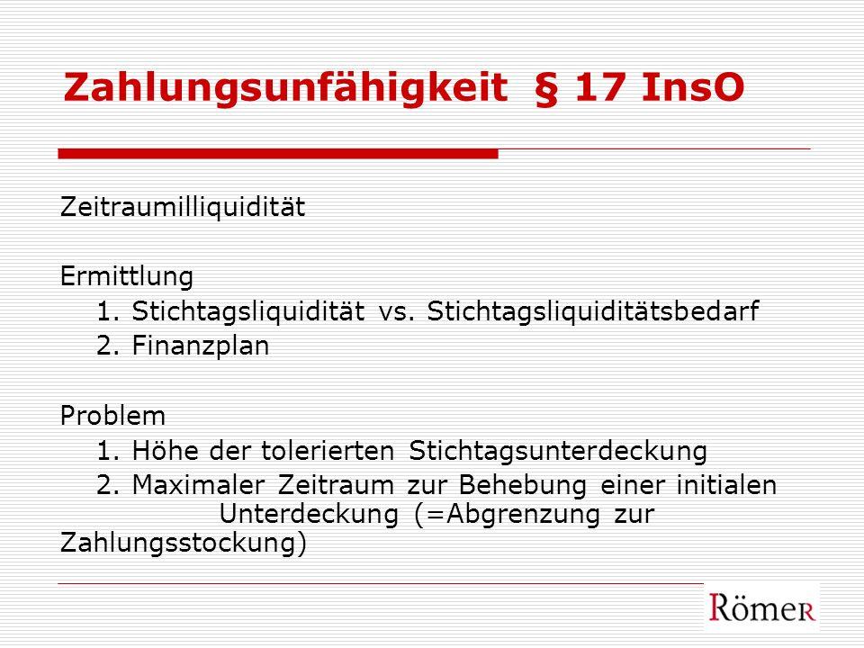 Zahlungsunfähigkeit § 17 InsO Zeitraumilliquidität Ermittlung 1. Stichtagsliquidität vs. Stichtagsliquiditätsbedarf 2. Finanzplan Problem 1. Höhe der