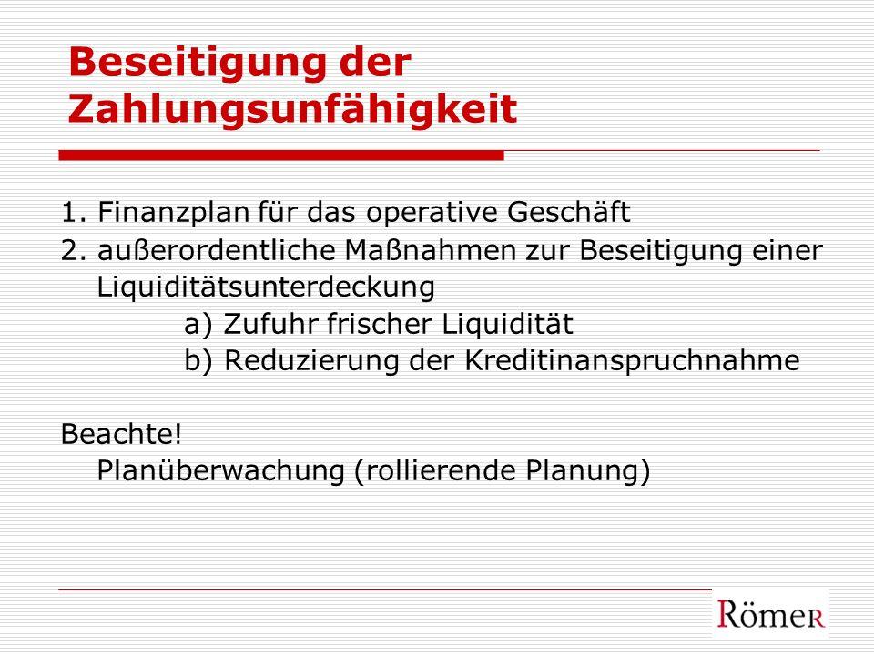Beseitigung der Zahlungsunfähigkeit 1. Finanzplan für das operative Geschäft 2. außerordentliche Maßnahmen zur Beseitigung einer Liquiditätsunterdecku