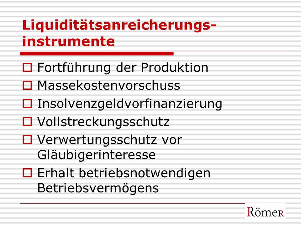 Liquiditätsanreicherungs- instrumente Fortführung der Produktion Massekostenvorschuss Insolvenzgeldvorfinanzierung Vollstreckungsschutz Verwertungssch