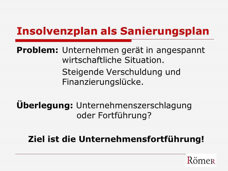 Insolvenzplan als Sanierungsplan Problem: Unternehmen gerät in angespannt wirtschaftliche Situation. Steigende Verschuldung und Finanzierungslücke. Üb