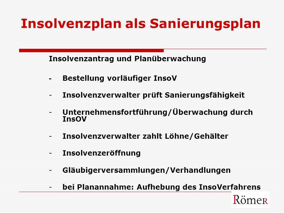 Insolvenzplan als Sanierungsplan Insolvenzantrag und Planüberwachung - Bestellung vorläufiger InsoV -Insolvenzverwalter prüft Sanierungsfähigkeit -Unt
