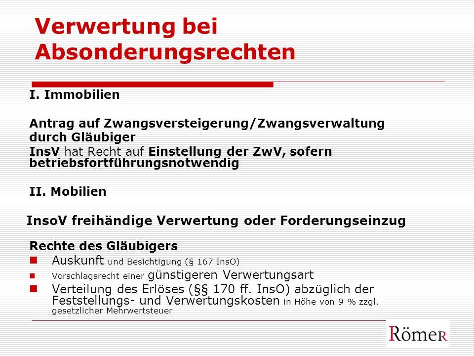 Verwertung bei Absonderungsrechten I. Immobilien Antrag auf Zwangsversteigerung/Zwangsverwaltung durch Gläubiger InsV hat Recht auf Einstellung der Zw