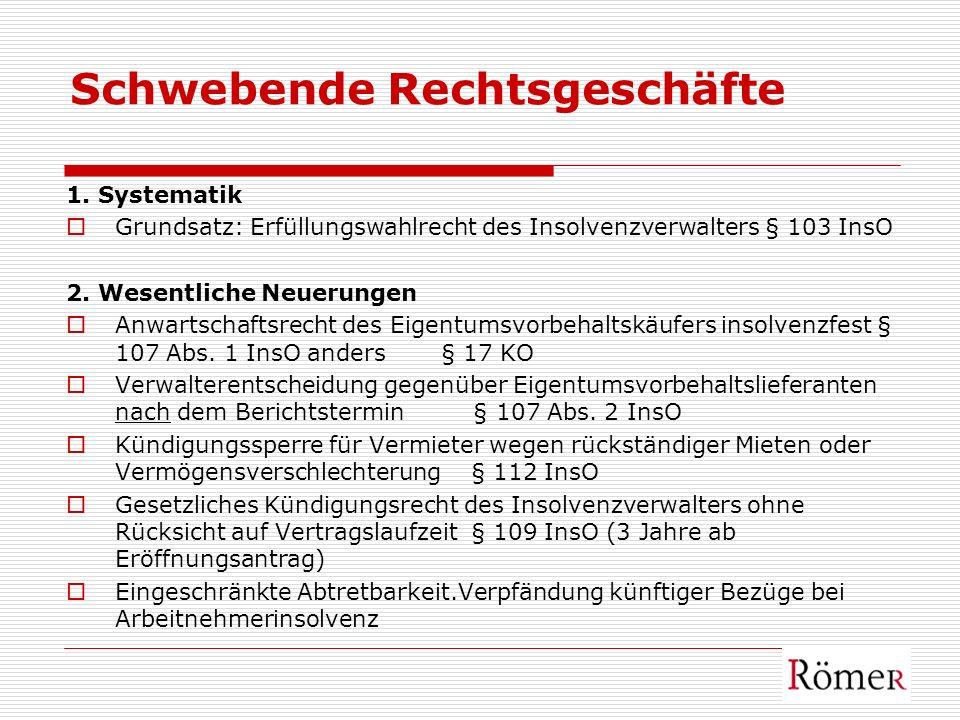 Schwebende Rechtsgeschäfte 1. Systematik Grundsatz: Erfüllungswahlrecht des Insolvenzverwalters § 103 InsO 2. Wesentliche Neuerungen Anwartschaftsrech