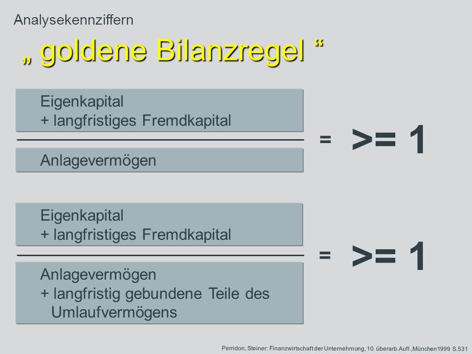 Analysekennziffern goldene Bilanzregel goldene Bilanzregel Eigenkapital + langfristiges Fremdkapital Anlagevermögen Eigenkapital + langfristiges Fremd