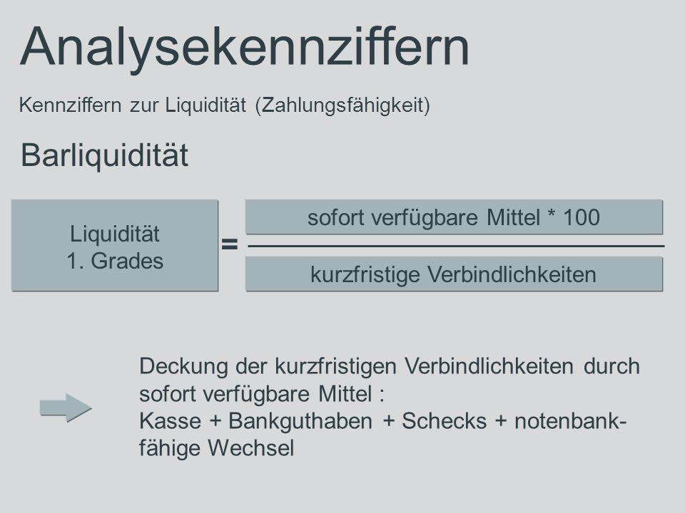 Analysekennziffern Kennziffern zur Liquidität (Zahlungsfähigkeit) Barliquidität Liquidität 1. Grades sofort verfügbare Mittel * 100 kurzfristige Verbi