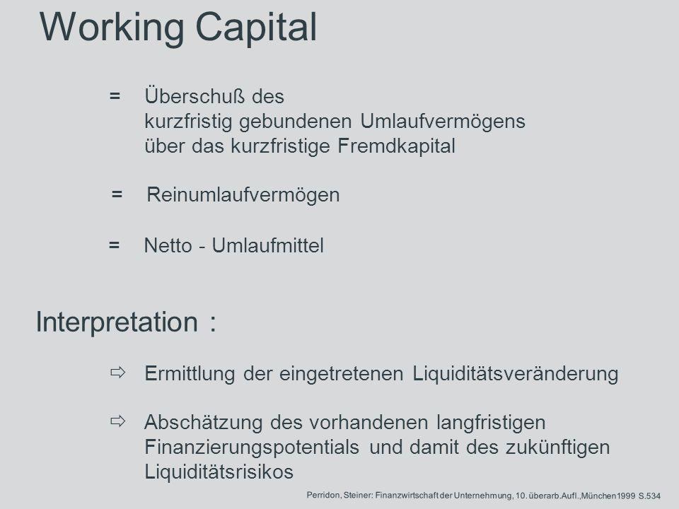 Working Capital =Überschuß des kurzfristig gebundenen Umlaufvermögens über das kurzfristige Fremdkapital =Reinumlaufvermögen =Netto - Umlaufmittel Int