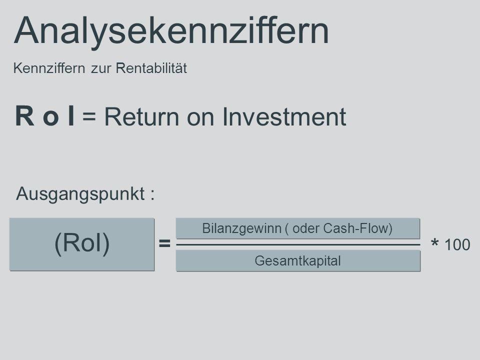 Kennziffern zur Rentabilität R o I = Return on Investment (RoI) Bilanzgewinn ( oder Cash-Flow) Gesamtkapital = Ausgangspunkt : Analysekennziffern * 100