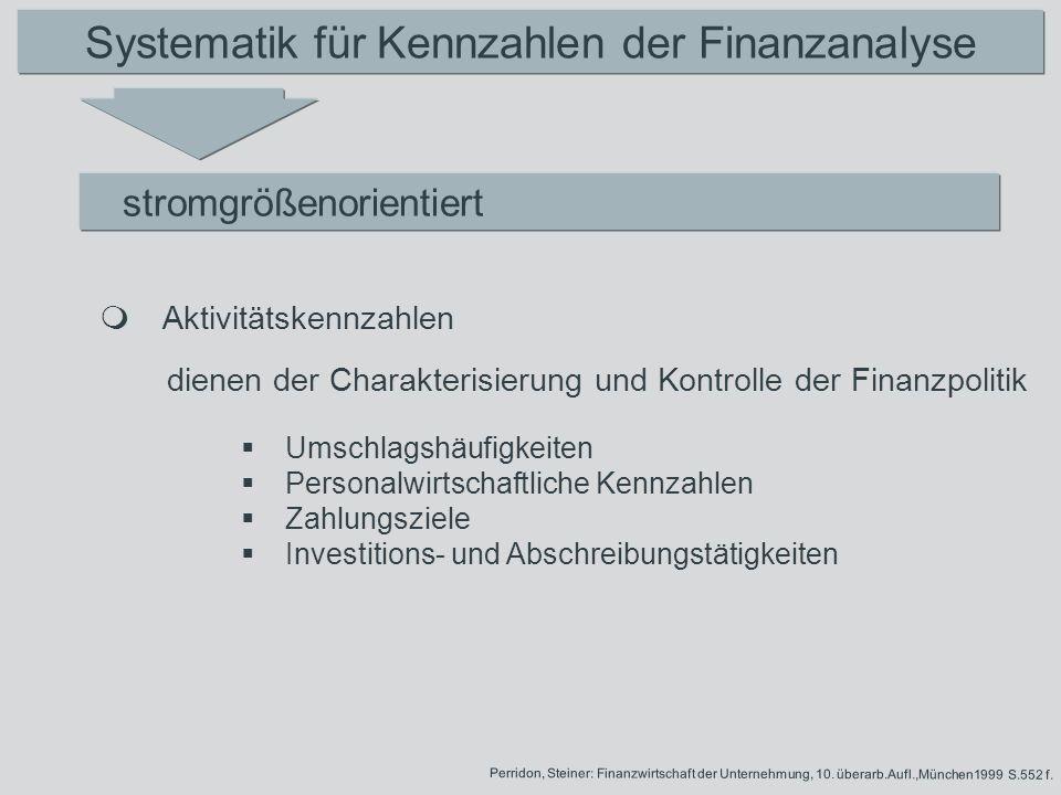 Systematik für Kennzahlen der Finanzanalyse stromgrößenorientiert dienen der Charakterisierung und Kontrolle der Finanzpolitik Aktivitätskennzahlen Pe
