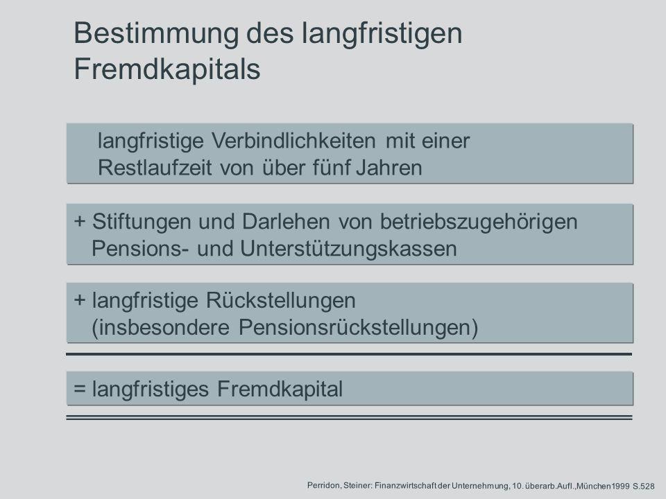 Bestimmung des langfristigen Fremdkapitals langfristige Verbindlichkeiten mit einer Restlaufzeit von über fünf Jahren + Stiftungen und Darlehen von be