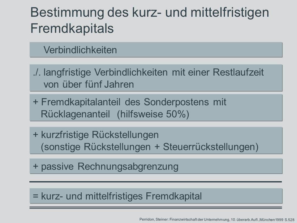 Bestimmung des kurz- und mittelfristigen Fremdkapitals./.