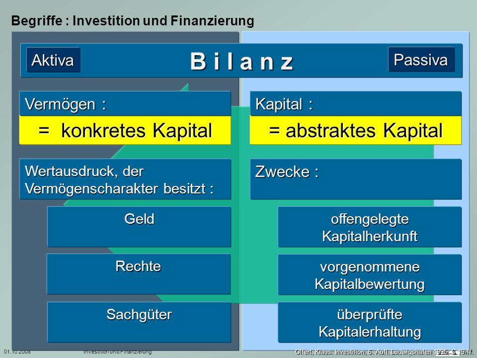 01.10.2008Investition und Finanzierung 29 Begriffe : Investition und Finanzierung B i l a n z Aktiva Wertausdruck, der Vermögenscharakter besitzt : of