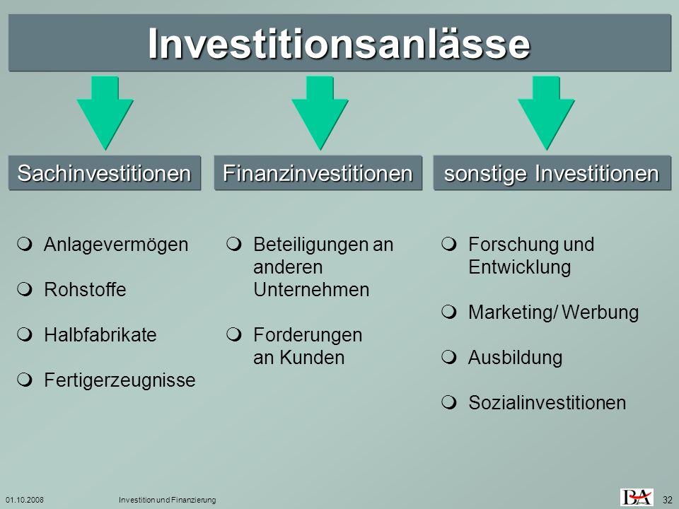 01.10.2008Investition und Finanzierung 32 Investitionsanlässe SachinvestitionenFinanzinvestitionen sonstige Investitionen Anlagevermögen Rohstoffe Hal
