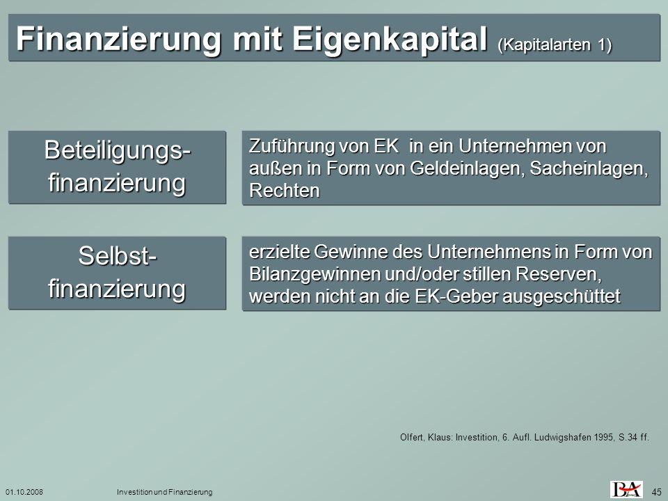 01.10.2008Investition und Finanzierung 45 Olfert, Klaus: Investition, 6. Aufl. Ludwigshafen 1995, S.34 ff. Finanzierung mit Eigenkapital (Kapitalarten