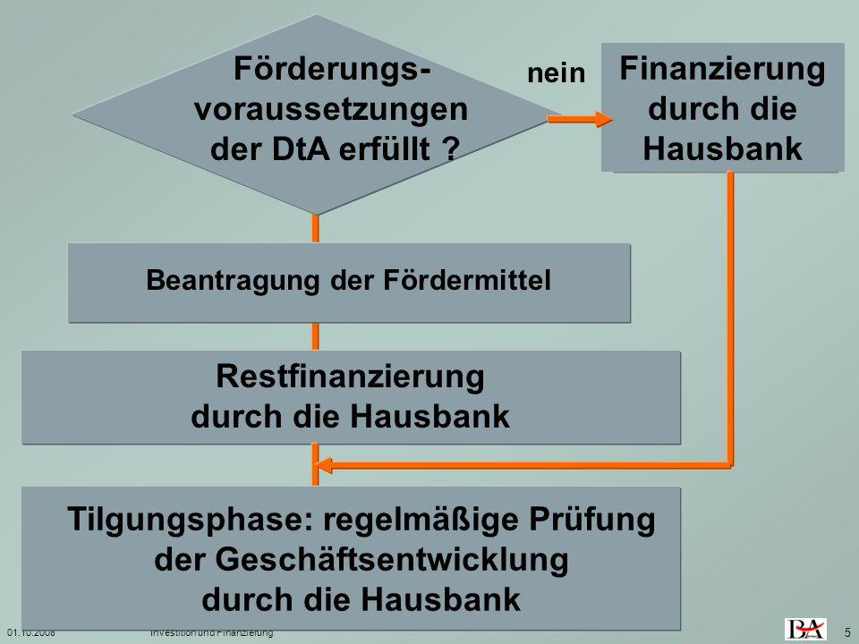 01.10.2008Investition und Finanzierung 5 Beantragung der Fördermittel nein Restfinanzierung durch die Hausbank Förderungs- voraussetzungen der DtA erf