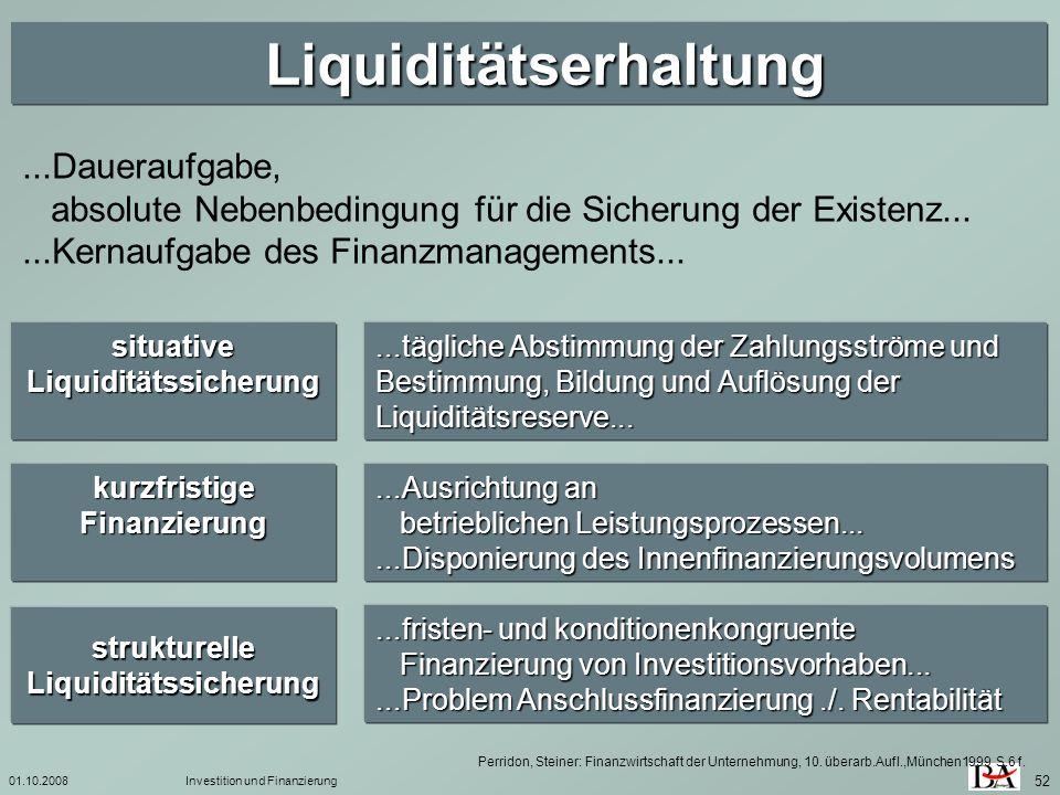 01.10.2008Investition und Finanzierung 52 Liquiditätserhaltung Liquiditätserhaltung situative Liquiditätssicherung...tägliche Abstimmung der Zahlungss