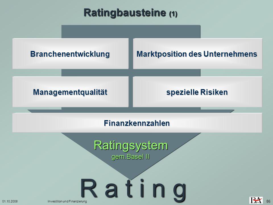 01.10.2008Investition und Finanzierung 86 Ratingbausteine (1) Ratingsystem gem.Basel II R a t i n g Managementqualität Branchenentwicklung Marktpositi