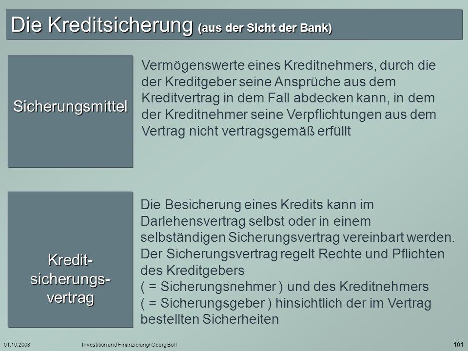 01.10.2008Investition und Finanzierung/ Georg Boll 102 Zweck- bestimungs- klausel Bei jeder Kreditbesicherung ist eine Vereinbarung über den Sicherungszweck erforderlich.