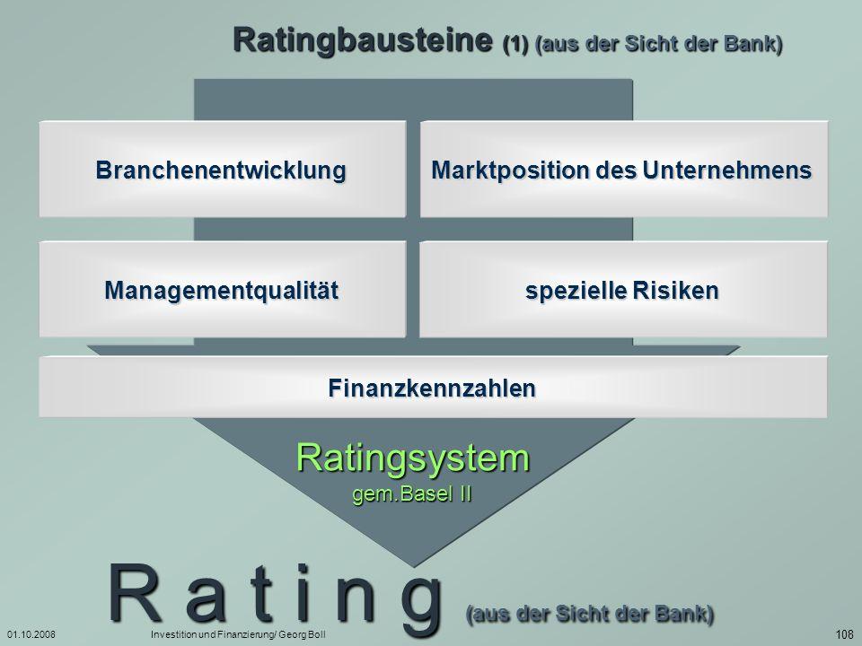 01.10.2008Investition und Finanzierung/ Georg Boll 109 Ratingbausteine (2) (aus der Sicht der Bank) Branchenentwicklung Marktposition des Unternehmens Managementqualität Umsatzentwicklung durchschnittliche Ertragsstärke Insolvenzquote...