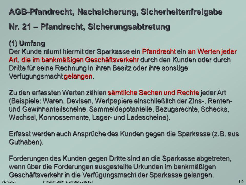 01.10.2008Investition und Finanzierung/ Georg Boll 113 Nr.